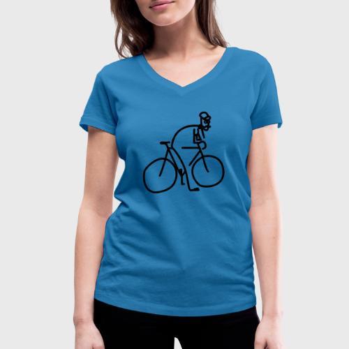Vélo et cycliste à moustaches - T-shirt bio col V Stanley & Stella Femme