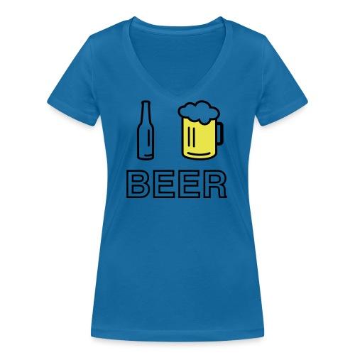 I Love Beer (2-farbig) - Frauen Bio-T-Shirt mit V-Ausschnitt von Stanley & Stella