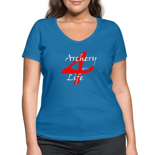 Archery4Life white - Frauen Bio-T-Shirt mit V-Ausschnitt von Stanley & Stella