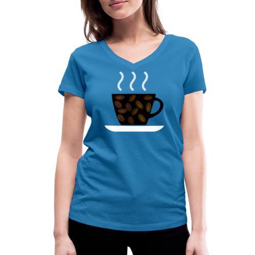 cofee with beans - T-shirt ecologica da donna con scollo a V di Stanley & Stella