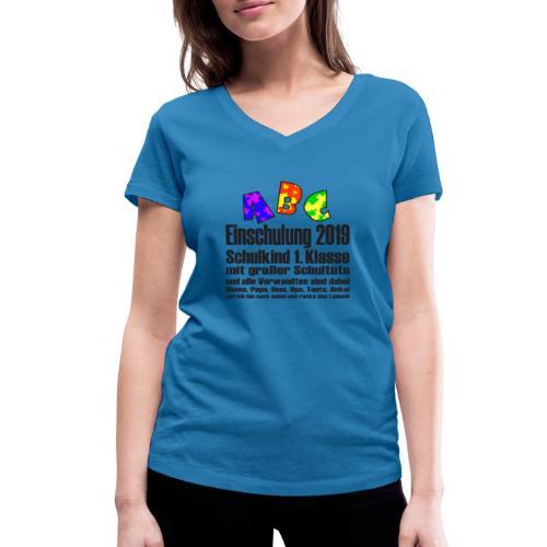 Einschulung Jahr 2019 - Frauen Bio-T-Shirt mit V-Ausschnitt von Stanley & Stella