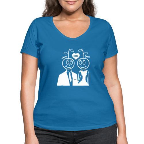 Happy Kirsche Weiß - Frauen Bio-T-Shirt mit V-Ausschnitt von Stanley & Stella