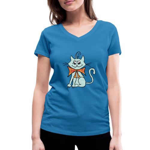 NIedliche blaue Katze - Frauen Bio-T-Shirt mit V-Ausschnitt von Stanley & Stella