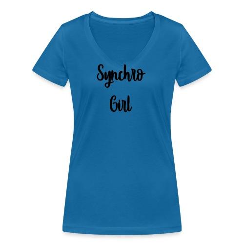 Synchro Girl - Stanley & Stellan naisten v-aukkoinen luomu-T-paita