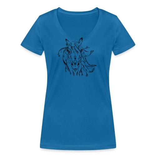 Koszulki konie - Ekologiczna koszulka damska z dekoltem w serek Stanley & Stella