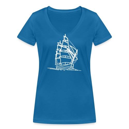 Segelschiff Illustration Meer Schiff Bootsfahrt - Frauen Bio-T-Shirt mit V-Ausschnitt von Stanley & Stella