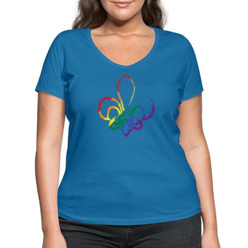 Pinselstrich Lilie Regebogenfahne - Frauen Bio-T-Shirt mit V-Ausschnitt von Stanley & Stella