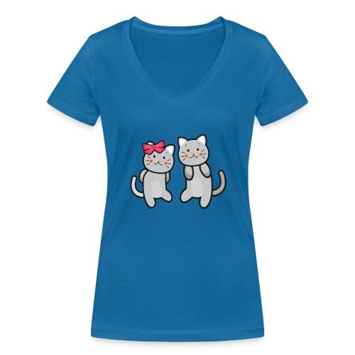Kotki - Ekologiczna koszulka damska z dekoltem w serek Stanley & Stella