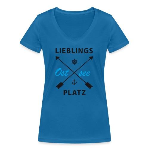 Lieblingsplatz Ostsee - Frauen Bio-T-Shirt mit V-Ausschnitt von Stanley & Stella