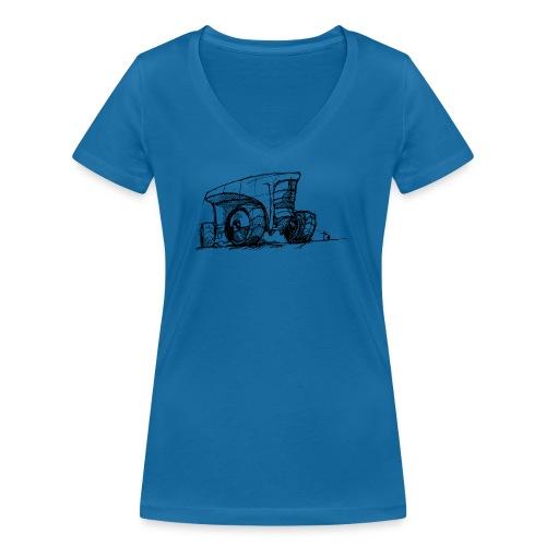 Futuristic design tractor - Women's Organic V-Neck T-Shirt by Stanley & Stella