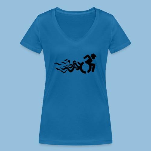 Wheelchair with flames 013 - Vrouwen bio T-shirt met V-hals van Stanley & Stella