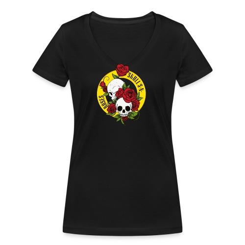 SKULL'S N ROSES - Camiseta ecológica mujer con cuello de pico de Stanley & Stella