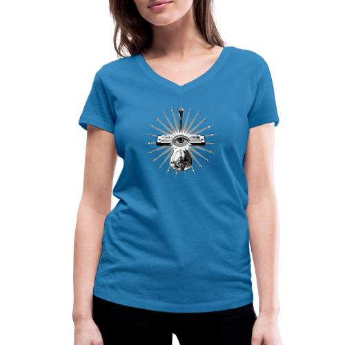 Blues Is The Truth - grey star - Women's Organic V-Neck T-Shirt by Stanley & Stella