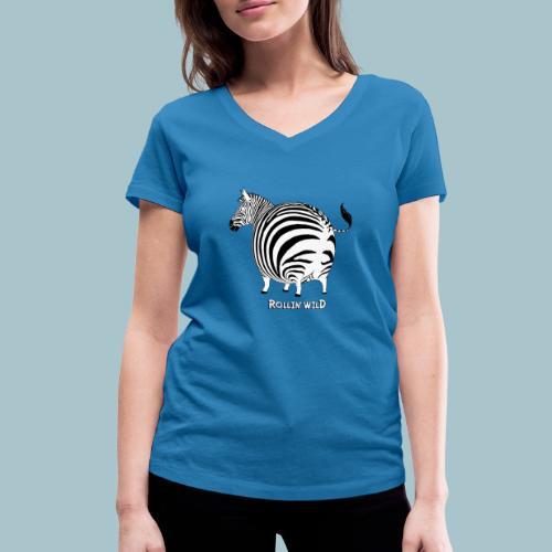 Rollin' Wild - Zebra - Women's Organic V-Neck T-Shirt by Stanley & Stella