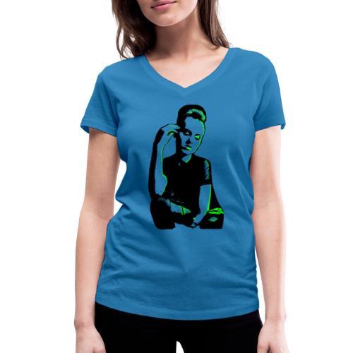 ATTITUDE (neon green) - Økologisk Stanley & Stella T-shirt med V-udskæring til damer