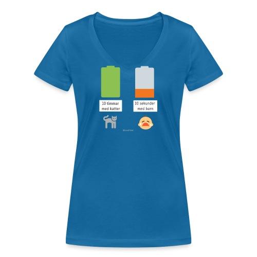 Livsbatteriet KATT - Ekologisk T-shirt med V-ringning dam från Stanley & Stella