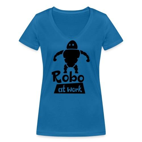 robot at work - Frauen Bio-T-Shirt mit V-Ausschnitt von Stanley & Stella
