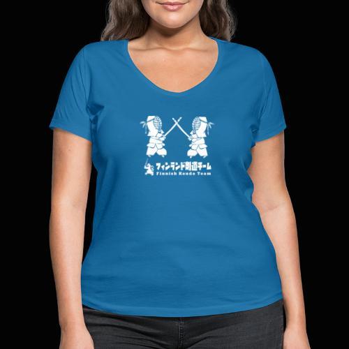 fka team logo white - Stanley & Stellan naisten v-aukkoinen luomu-T-paita
