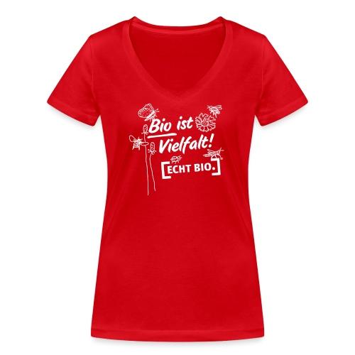 Bio ist Vielfalt - Frauen Bio-T-Shirt mit V-Ausschnitt von Stanley & Stella