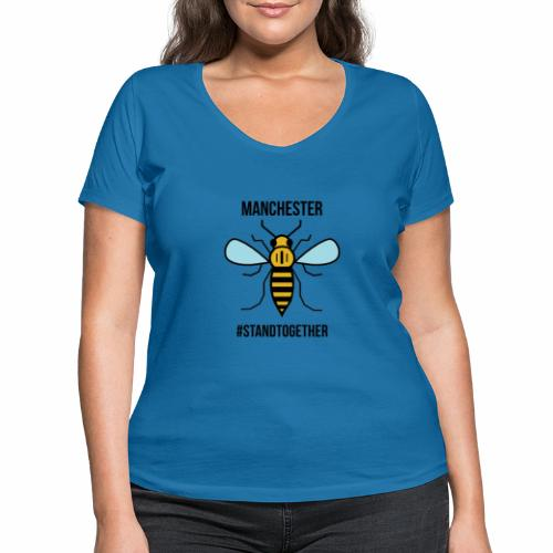 Manchester Bee - Women's Organic V-Neck T-Shirt by Stanley & Stella