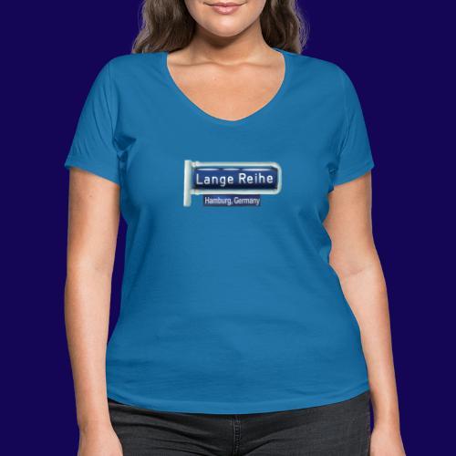 Lange Reihe: altes Straßenschild, Hamburg Germany - Frauen Bio-T-Shirt mit V-Ausschnitt von Stanley & Stella