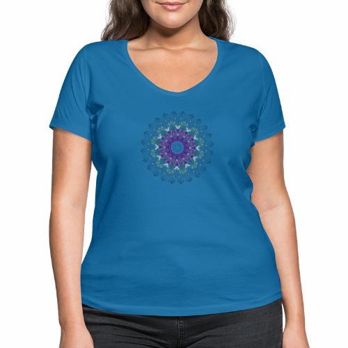 Mørk lilla mandala - Økologisk Stanley & Stella T-shirt med V-udskæring til damer