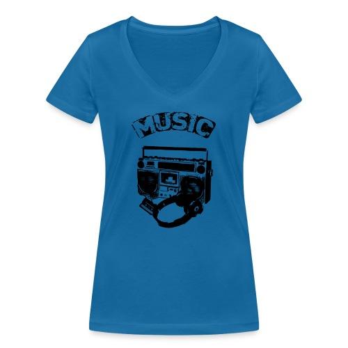 musik1 - Økologisk Stanley & Stella T-shirt med V-udskæring til damer