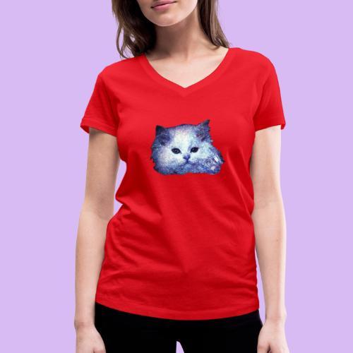 Gatto glitter - T-shirt ecologica da donna con scollo a V di Stanley & Stella