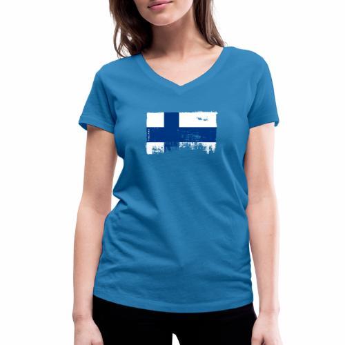 Suomen lippu, Finnish flag T-shirts 151 Products - Stanley & Stellan naisten v-aukkoinen luomu-T-paita