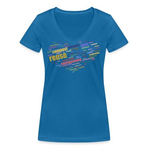 Ett hjärta med alternativa lösningar o framtidstro - Ekologisk T-shirt med V-ringning dam från Stanley & Stella