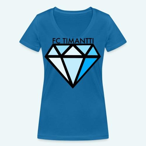 FC Timantti mustateksti - Stanley & Stellan naisten v-aukkoinen luomu-T-paita