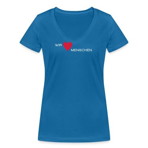 Wir lieben Menschen - Frauen Bio-T-Shirt mit V-Ausschnitt von Stanley & Stella
