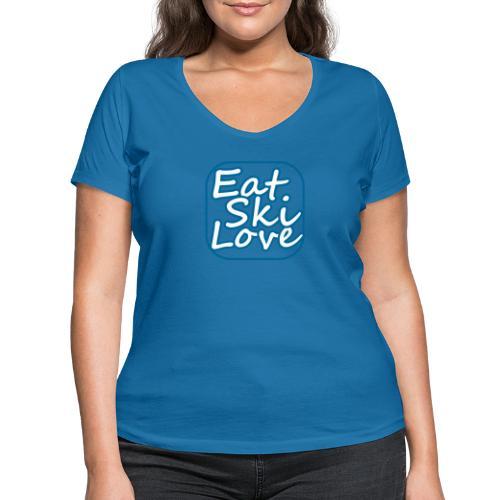 eat ski love - Vrouwen bio T-shirt met V-hals van Stanley & Stella