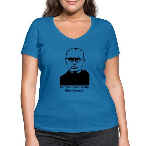 Hl. Maximilian Kolbe - Bitte für uns! - Frauen Bio-T-Shirt mit V-Ausschnitt von Stanley & Stella