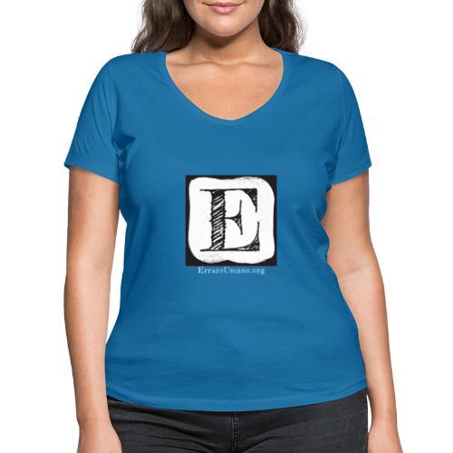 Logo ErrareUmano con scritta bianca - T-shirt ecologica da donna con scollo a V di Stanley & Stella
