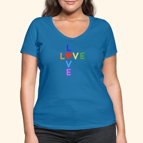 Rainbow Love. Regenbogen Liebe - Frauen Bio-T-Shirt mit V-Ausschnitt von Stanley & Stella