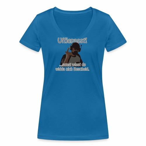 Uffjepasst v1 2560x - Frauen Bio-T-Shirt mit V-Ausschnitt von Stanley & Stella