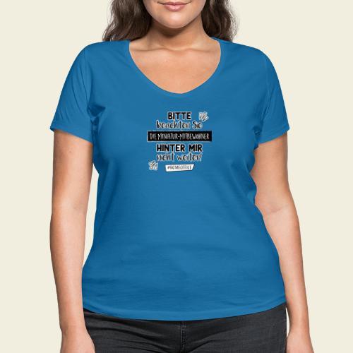 Miniatur Mitbewohner hinter mir - Frauen Bio-T-Shirt mit V-Ausschnitt von Stanley & Stella