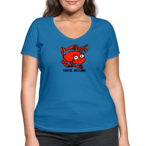 red frog - T-shirt ecologica da donna con scollo a V di Stanley & Stella