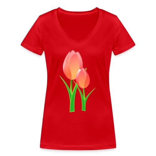 Belle fleur - T-shirt bio col V Stanley & Stella Femme
