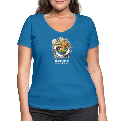 Knejpe Festival - tattoo med hvid tekst - Økologisk Stanley & Stella T-shirt med V-udskæring til damer