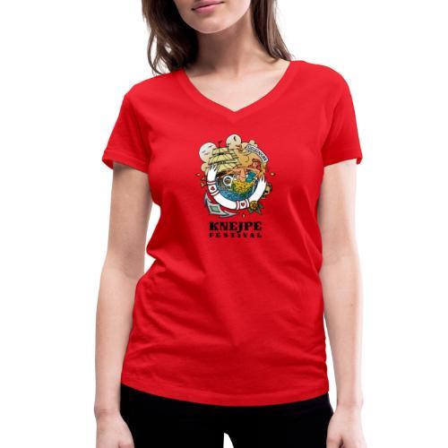 Knejpe Festival - tattoo med sort tekst - Økologisk Stanley & Stella T-shirt med V-udskæring til damer