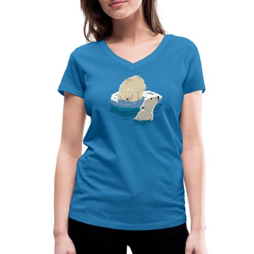 Polar bears - Women's Organic V-Neck T-Shirt by Stanley & Stella