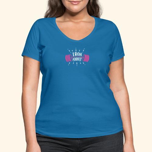Iron Addict I VSK Funny Gym Shirt - Frauen Bio-T-Shirt mit V-Ausschnitt von Stanley & Stella