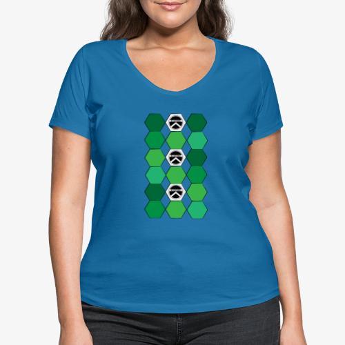 |K·CLOTHES| HEXAGON ESSENCE GREENS & WHITE - Camiseta ecológica mujer con cuello de pico de Stanley & Stella
