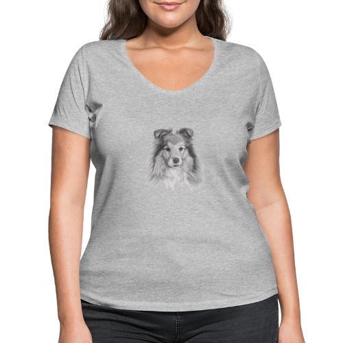 shetland sheepdog sheltie - Økologisk Stanley & Stella T-shirt med V-udskæring til damer
