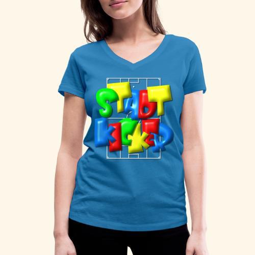 Stadtkicker im Fußballfeld - Balloon-Style - Frauen Bio-T-Shirt mit V-Ausschnitt von Stanley & Stella