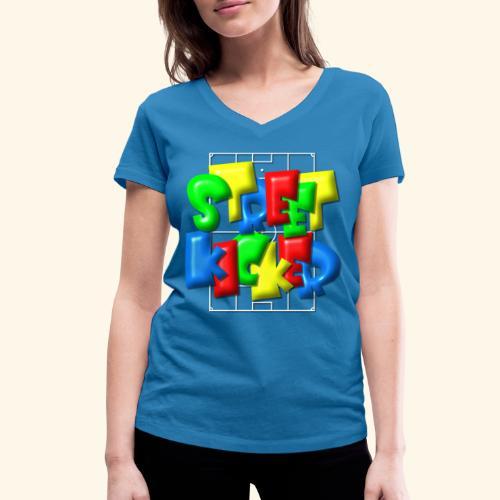 Streek Kicker im Fußballfeld - Balloon-Style - Frauen Bio-T-Shirt mit V-Ausschnitt von Stanley & Stella