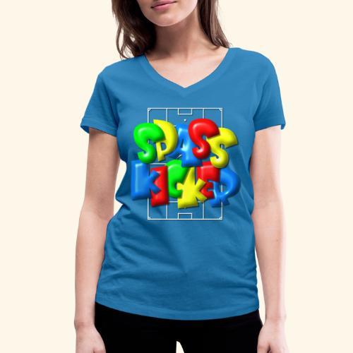 Spass Kicker im Fußballfeld - Balloon-Style - Frauen Bio-T-Shirt mit V-Ausschnitt von Stanley & Stella