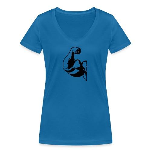 PITT BIG BIZEPS Muskel-Shirt Stay strong! - Frauen Bio-T-Shirt mit V-Ausschnitt von Stanley & Stella
